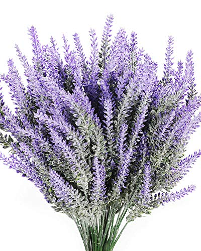 l Lavender Flowers Bouquet Fake Lavender Plant Bundle Wedding Home Decor Garden Patio Decoration ()