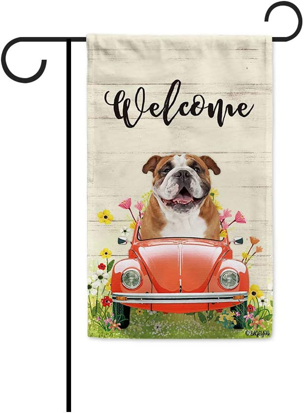 BAGEYOU Welcome Spring Dog Garden Flag a Happy English Bulldog Driving a Vintage Car Summer Flowers and Lawn Decor Home Banner for Outside 12.5x18 Inch Print Both Sides