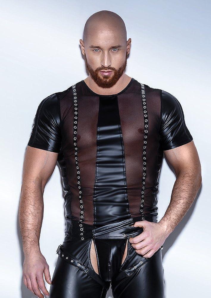 Noir Handmade Heißes Wetlook Shirt mit Netz und Nieten schwarz Noir Handmade Men Collection