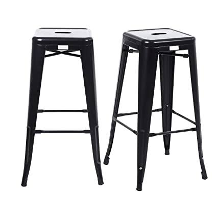 Strange Buschman Set Of 2 Matte Black 30 Inch Bar Height Metal Bar Stools Indoor Outdoor Stackable Pabps2019 Chair Design Images Pabps2019Com