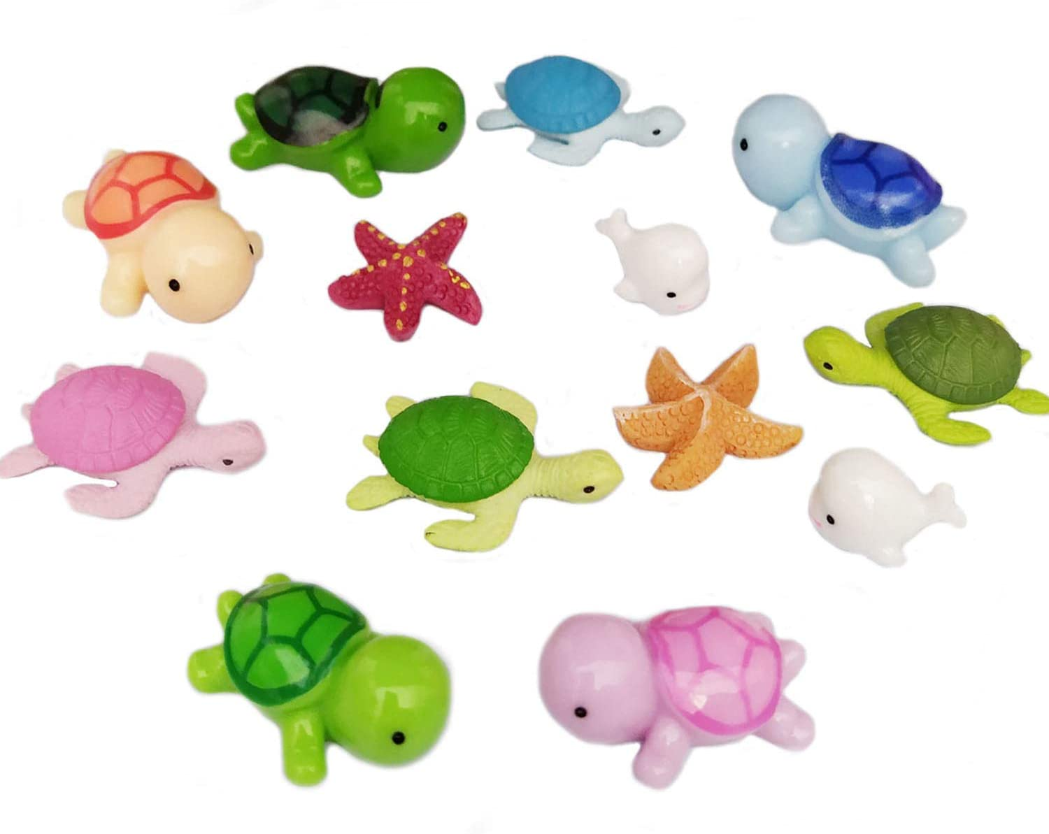 Ruzucoda Miniature Sea Turtle Dolphin Starfish Ocean Animal Figurines Ornaments Fairy Garden Office Decor Fish Tank Decorations 13 PCS