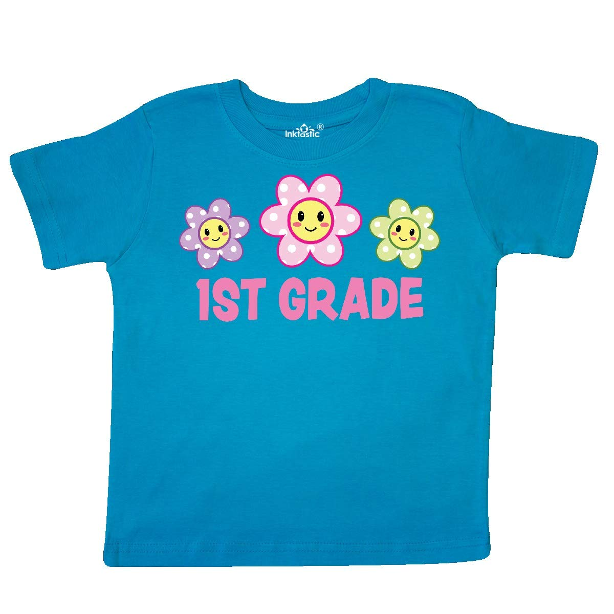 inktastic 1st Grade with Polka Dot Flowers Toddler T-Shirt