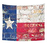 Emvency Tapestry Gray Texas State Flag of America on Brick Wall Home Decor Wall Hanging for Living Room Bedroom Dorm 50x60 Inches