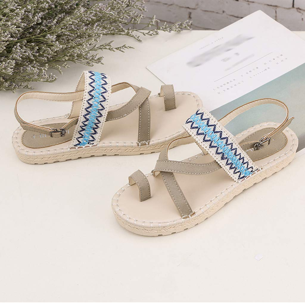 Thenxin Bohemian Cloth Open Toe Flat Sandals for Women's Ethnic Beach Shoes (Beige,6.5 US) by Thenxin-sandals (Image #2)