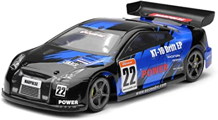 Amazon Com Exceed Rc Rc Remote Control Radio 1 18 Mad Pulse Brushless Drift Car Ready To Run Fireblue Toys Games