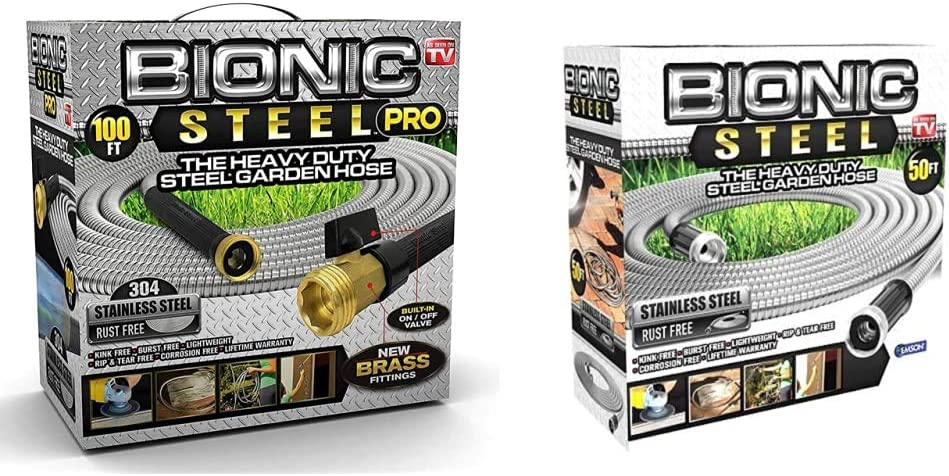 Bionic Steel PRO Garden Hose - 304 Stainless Steel Metal 100 Foot Garden Hose & 50 Foot Garden Hose 304 Stainless Steel Metal Water Hose, Crush Resistant Aluminum Fittings