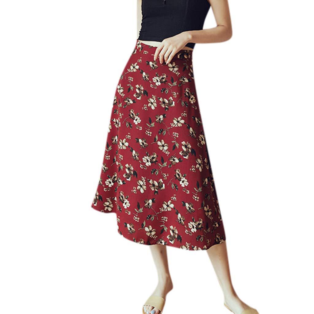 ZOMUSAR Now Summer Women Skirts Printed Dot High Waist Skirt Slim Casual Beach Skirt for Ladies