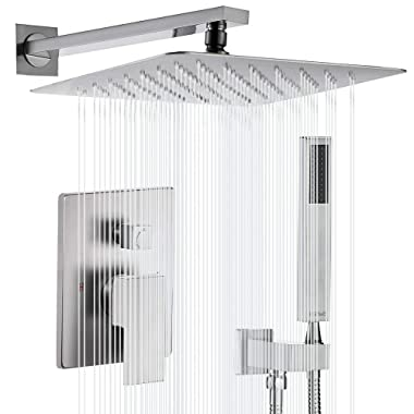 Esnbia Shower System, Brushed Nickel Shower Faucet Set with Valve and 12  Rain Shower Head Systems Wall Mounted Shower Combo Set for Bathroom All Metal