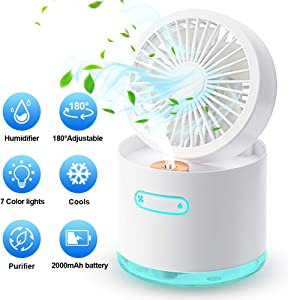 Portable Air Conditioner Fan, ALLYAG Evaporative Air Cooler Handheld Misting Fan, Personal Small Desk Fan with 300mL Water Tank & 3 Speeds & 180°Adjustable & 7 LED Night Lights for Home Office Bedroom