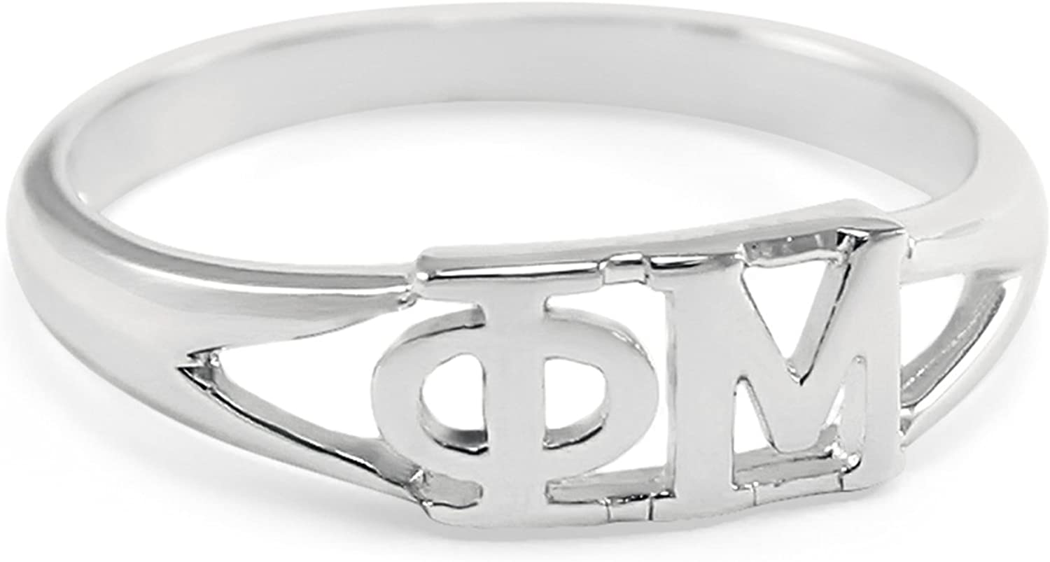 The Collegiate Standard Phi Mu Sorority Ring with Greek cut-out letters
