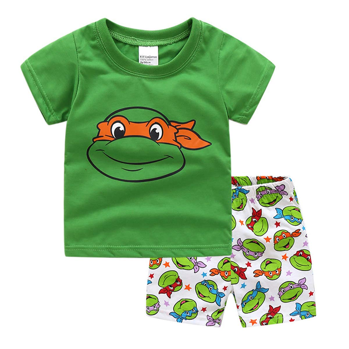 NING Little Boys Short Pajamas Sets Toddler PJS Set Cotton Kids Sleepwears (Ninja Turtles, 6T)