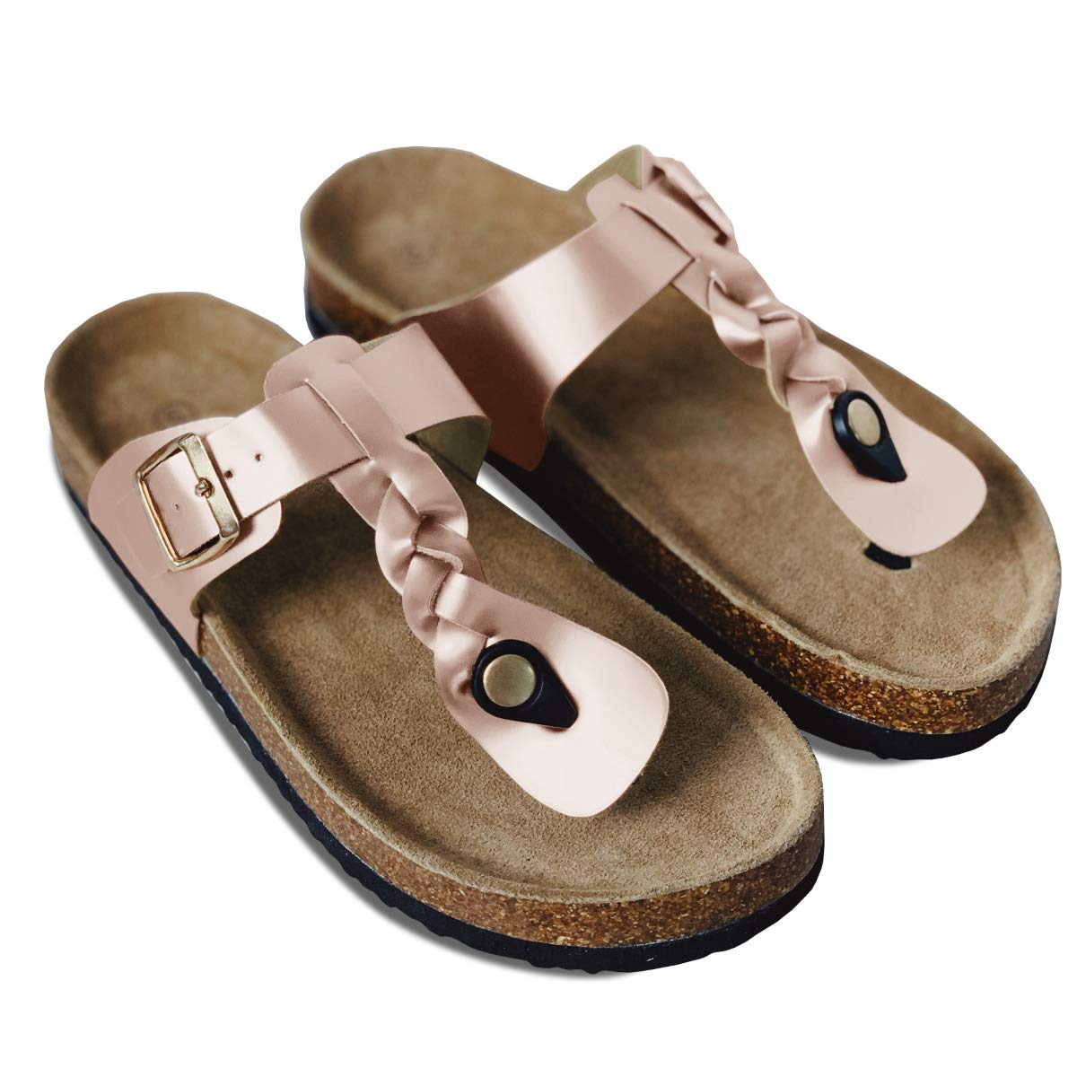 Womens Platform Thong Flip Flops Slip On T Strap Braided Cork Flat Sandals