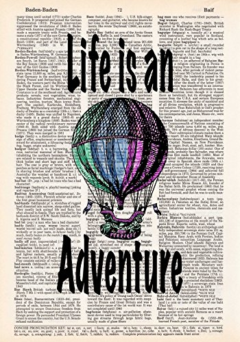 Hot Air Balloon Print - Life is an Adventure - Dictionary Page Print - Handmade - Typography - 8.5x11 - UNFRAMED