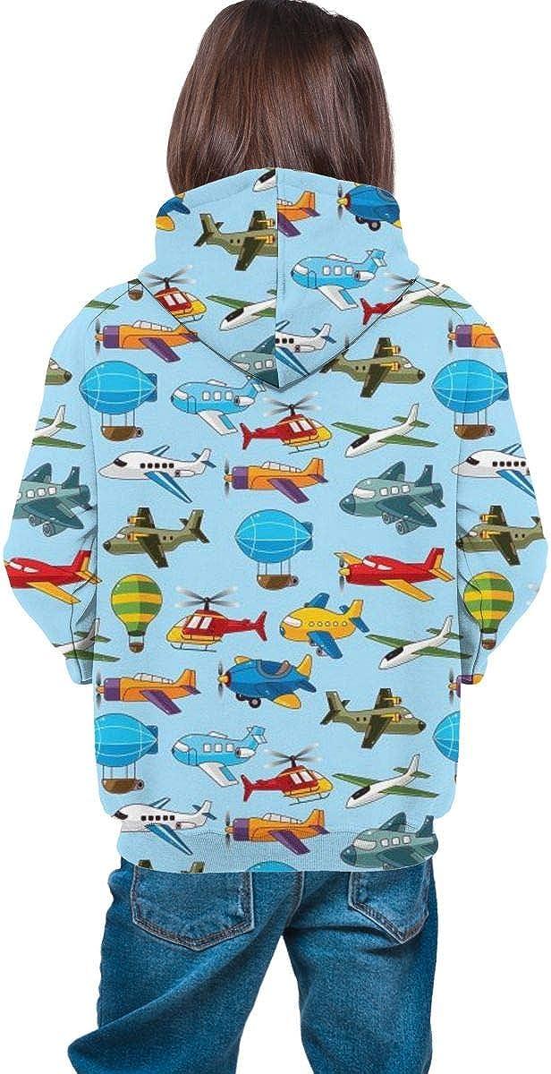 Kjiurhfyheuij Teens Pullover Hoodies with Pocket Helicopter Airship Fleece Hooded Sweatshirt for Youth Kids Boys Girls
