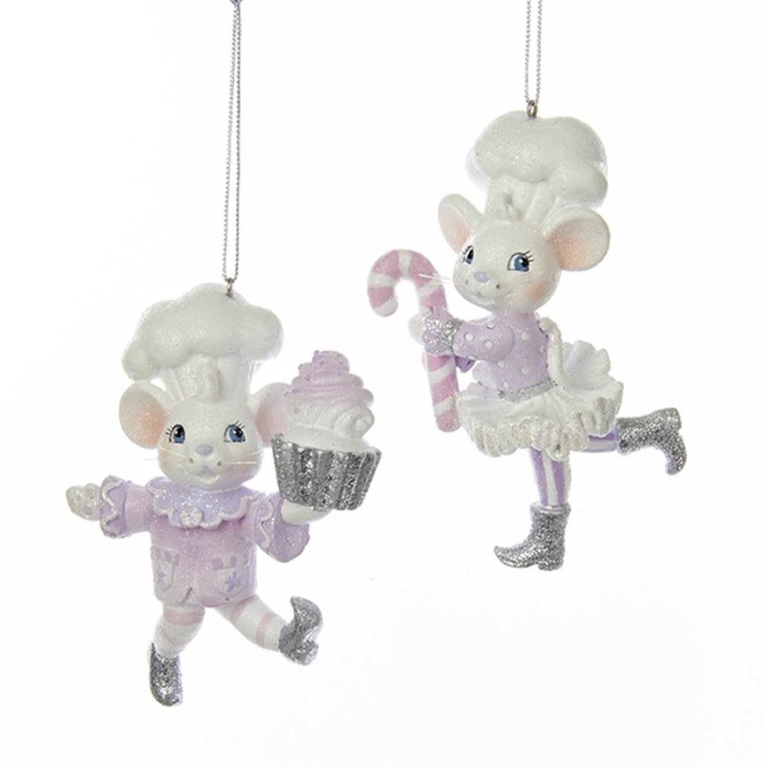 Pack of 12 Pink, Purple and White Sugar Plum Boy and Girl Mouse Christmas Ornaments 4''