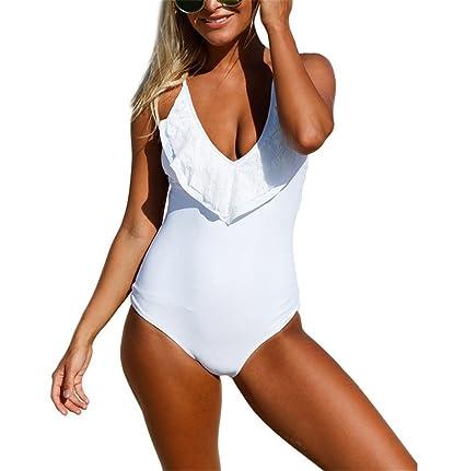 bañador de una pieza blanco / drapeado bikinis con volantes ...