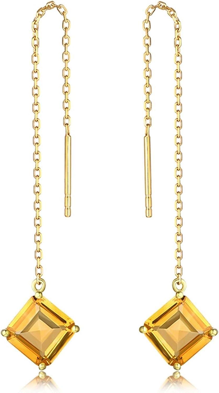 Epinki Mujer 18K Oro Amarillo Pendientes 2.6ct Citrina Cuadrada 4 Garras Pendientes Fiesta Brillantes