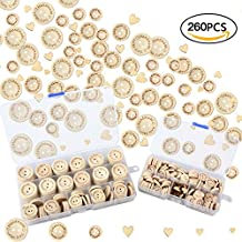 Firlar 260pcs DIY Wood Sewing Buttons Handmade Wooden Buttons and Heart for Sewing Crafts Scrapbook Decor with Box 15mm, 20mm, 25mm