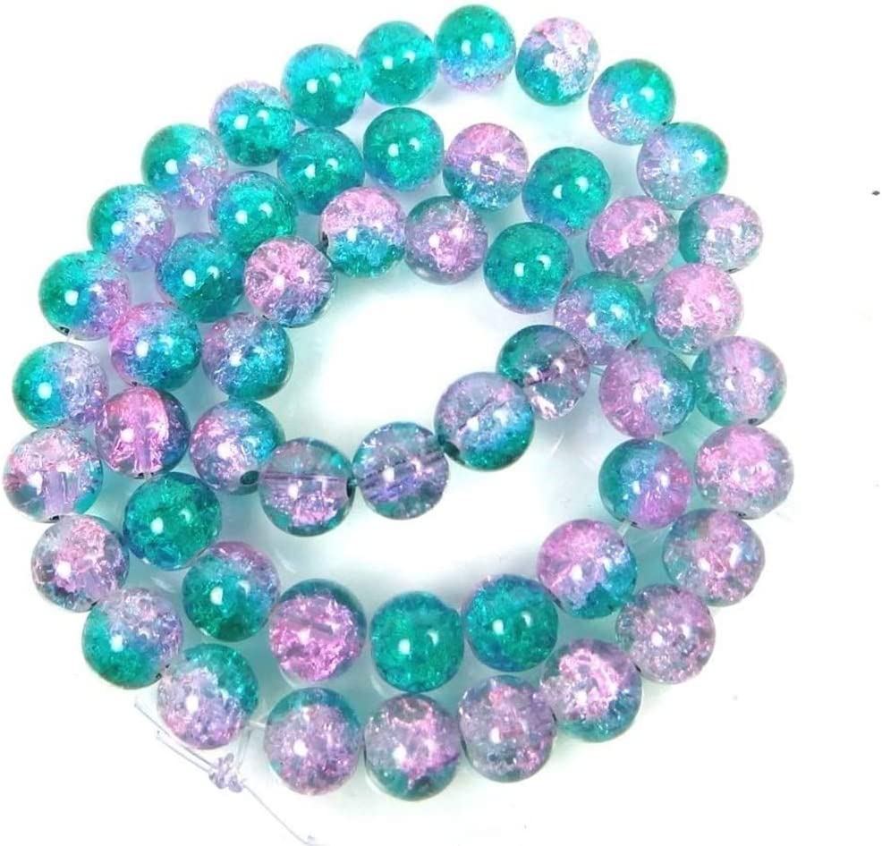 50pcs 8mm Double Colored Cracked Round Spacer Beads Jewelry Handmade DIY
