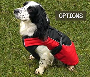 OPTIONS Dog Coat All Weather Reflective 10-12inch (Just like us dogs like to keep warm and dry when out walking without looking like victims of last year's fashion 'mistakes'. So the new range of Options coats are designed to be 'timeless' classics, but have function as well as form by being water resistant. The All Weather even protects the chest and has reflective piping. Large 10-12 (30cm) Water resistant outer fabric. eflective strip for visibility. Warm fleece inne by Options
