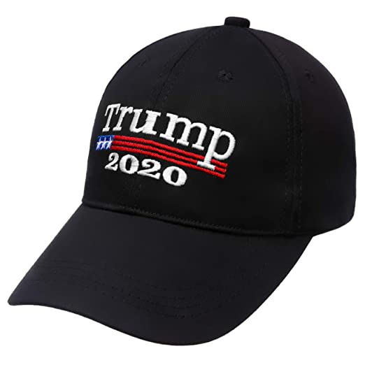 f3fa39c82 Donald Trump 2020 Cap,Make America Great Again hat, Embroidered Baseball  Cap,100% Cotton and Adjustable for Man or Women Black