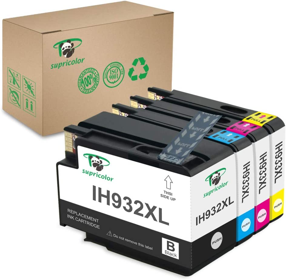 Supricolor 932xl 933xl Compatible Ink Cartridges, Replacement for 932 933 High Yield 4 Packs(1 Black 1 Cyan 1 Magenta 1 Yellow) Work with Officejet 6600 6700 6100 7110 7610 7612 Printer