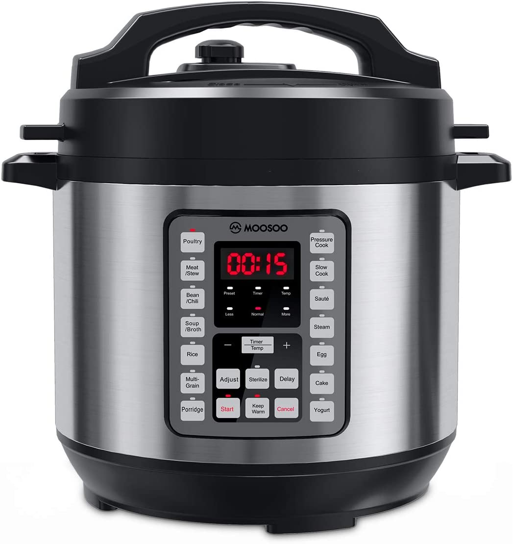MOOSOO 14-in-1 Electric Pressure Cooker, 8 Quart/8L Instant Pressure Pot with LED Display, Thickened Stainless Steel Slower Cooker, Rice Cooker, Yogurt Maker, Steamer for Family Use