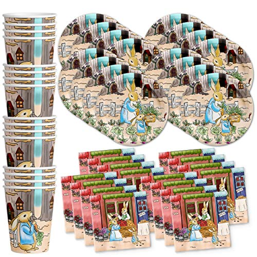Peter Rabbit Birthday Party Supplies Set Plates Napkins Cups Tableware Kit for 16 by Birthday Galore]()