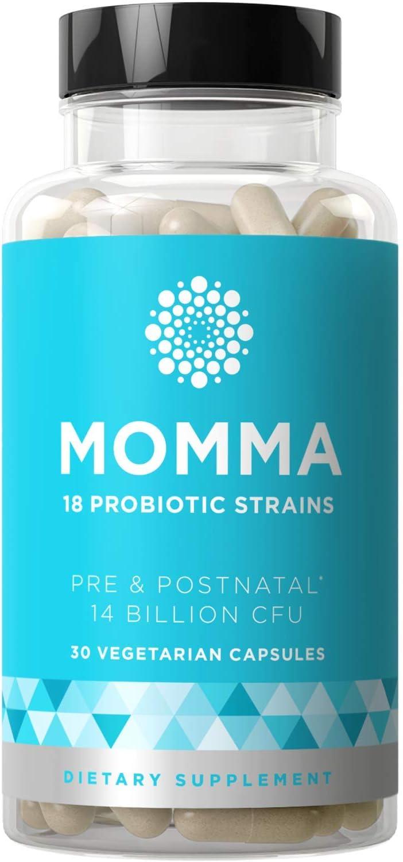 Momma Prenatal Probiotics Mom & Baby – Gut & Digestive Health for Pregnancy, Nursing, Morning Sickness Relief – 18 Potent Strains, 14 Billion CFU, Prebiotic – 30 Mini Vegetarian Soft Capsules