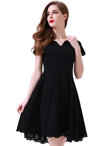 ... super popular Aphratti Womens Cute Henley V Neck Short Sleeve Hollow  Out Casual Skater Dress Small ... 066f997a0