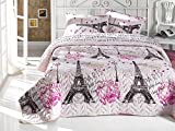 With Love From Paris Bedding, Full/Queen Size Bedspread/Coverlet Set, Eiffel Tower Themed Girls Boys Bedding, 3 PCS, Pink