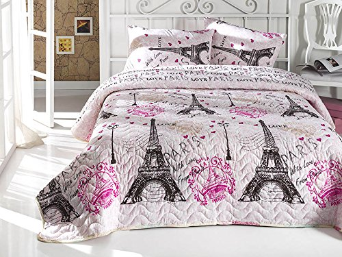 With Love From Paris Bedding, Full/Queen Size Bedspread/Coverlet Set, Eiffel Tower Themed Girls Boys Bedding, 3 PCS, Pink DecoMood