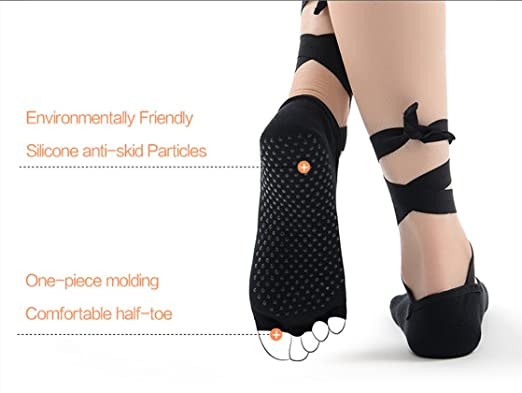 Amazon.com : Half Toe Toeless Ballet Style Cotton Non Slip Non Skid Slip Resistant Yoga Socks with Grips For Barre Pilates Yoga Dance Calcetines Compression ...