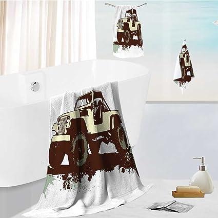 Juego de toallas de baño de lujo para pared de ladrillo en una habitación con interior
