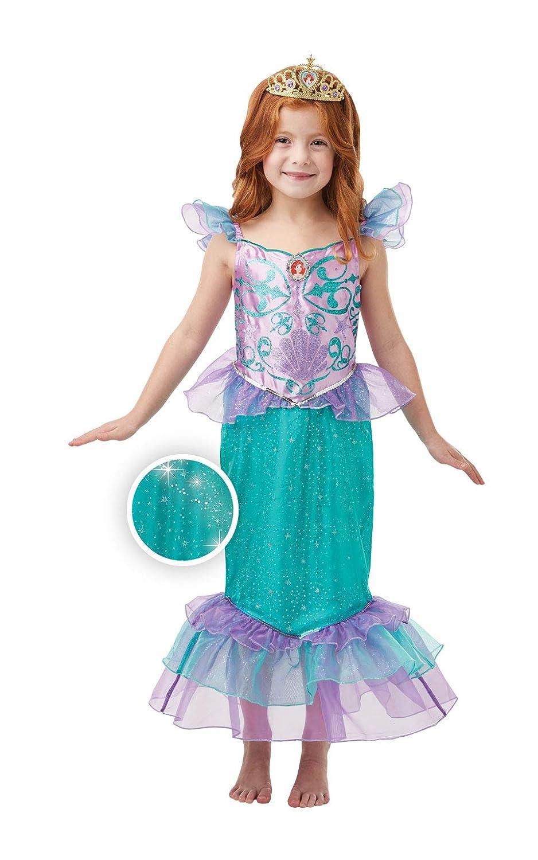 Rubies Disfraz oficial de la princesa Ariel con purpurina y brillo para niñas