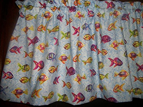 Tropical Gold Fish bathroom sunroom porch window kitchen curtain Valance (Fish Valance)