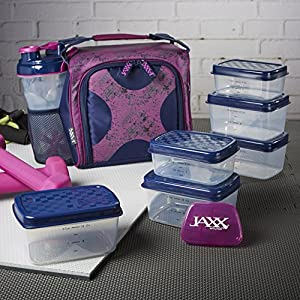 Fit & Fresh Jaxx FitPak Meal Prep Insulated Bag With Portion Control Container Set, Purple Navy Crosshatch Clutter