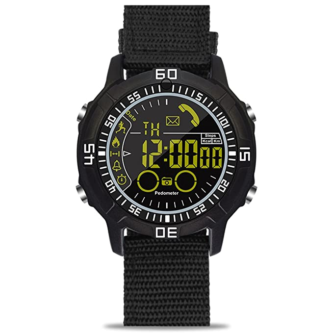 ROADTEC Men Digital Sport Smart Watches, 5ATM Waterproof Bluetooth 4.0 Watch with Call SMS Notification Remote Camera for Android IOS iPhone (Black)