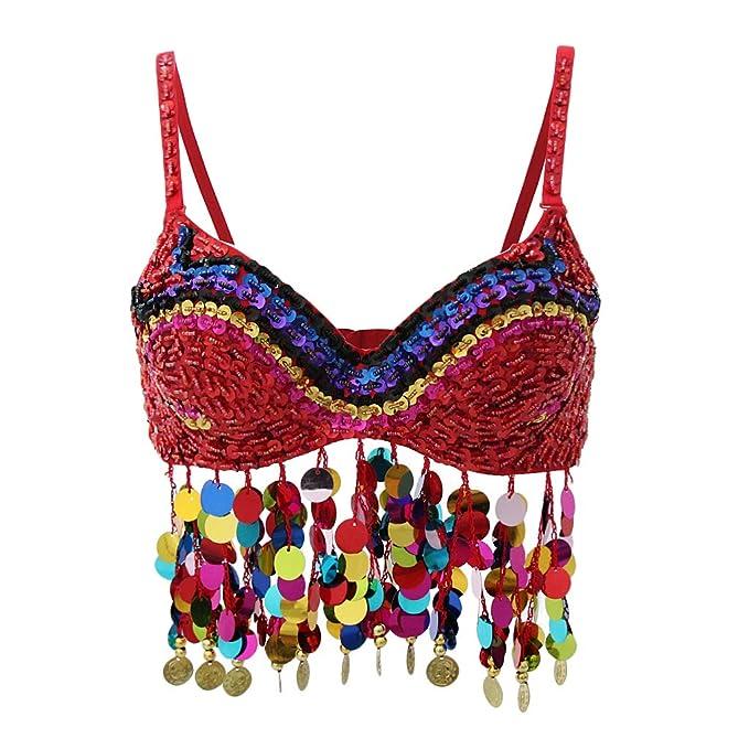 B Baosity Sujetador de Danza de Vientre con Lentejuelas Ropa Interior Tops de Mujer para Noche Fiesta Cóctel - rojo, como se describe: Amazon.es: Ropa y ...