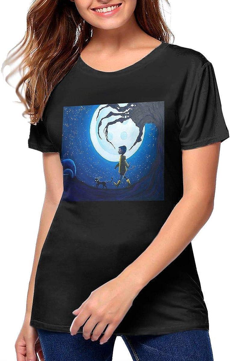 Amazon Com Dianalhodge Women S Coraline Blue Full Moon Nightmare Cat Cotton Funny T Shirts Tees Black Clothing