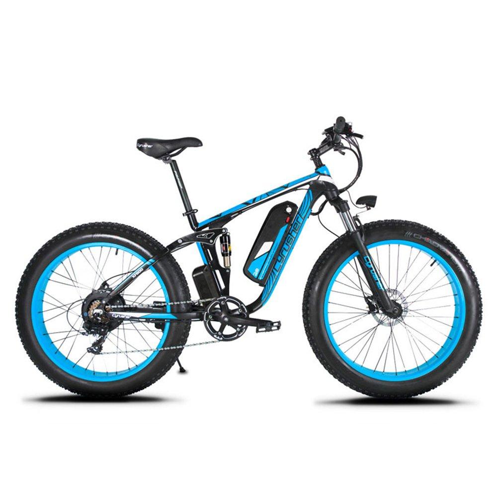 Cyrusher XF800 ファットバイク アシスト自転車 17×26インチ マウンテンバイク1000W 48V13An アルミフレーム FATBIKE迫力の極太タイヤ スノーホイール B07KZPZQHX 青 青