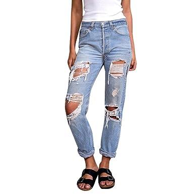 Damen Jeanshose Destroyed Zerrissen Boyfriend Jeans Löcher Distressed Jeans Hose