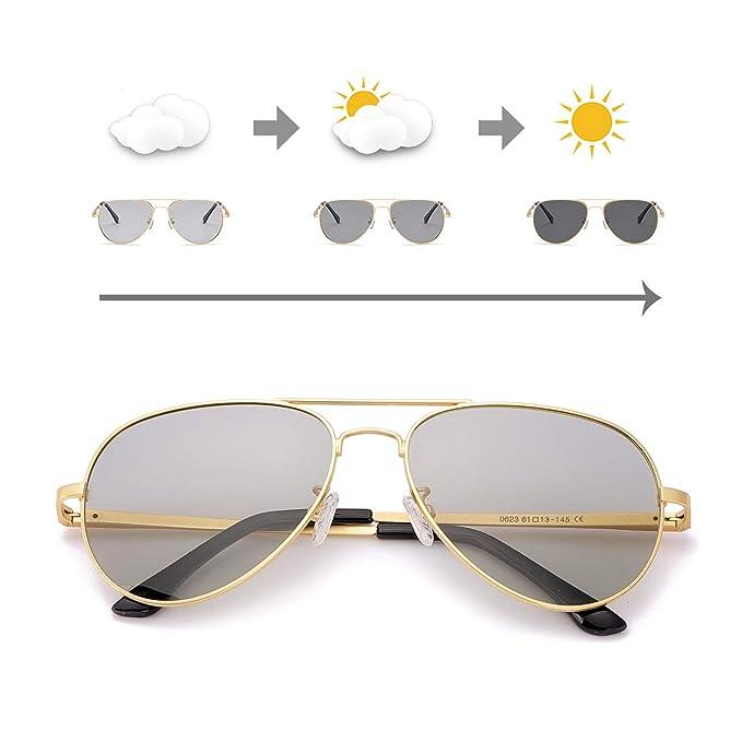 OSVAW Gafas de sol polarizadas fotocromáticas para Hombre y Mujer, protección UVA UVB con marco de metal para al Aire Libre Viajes
