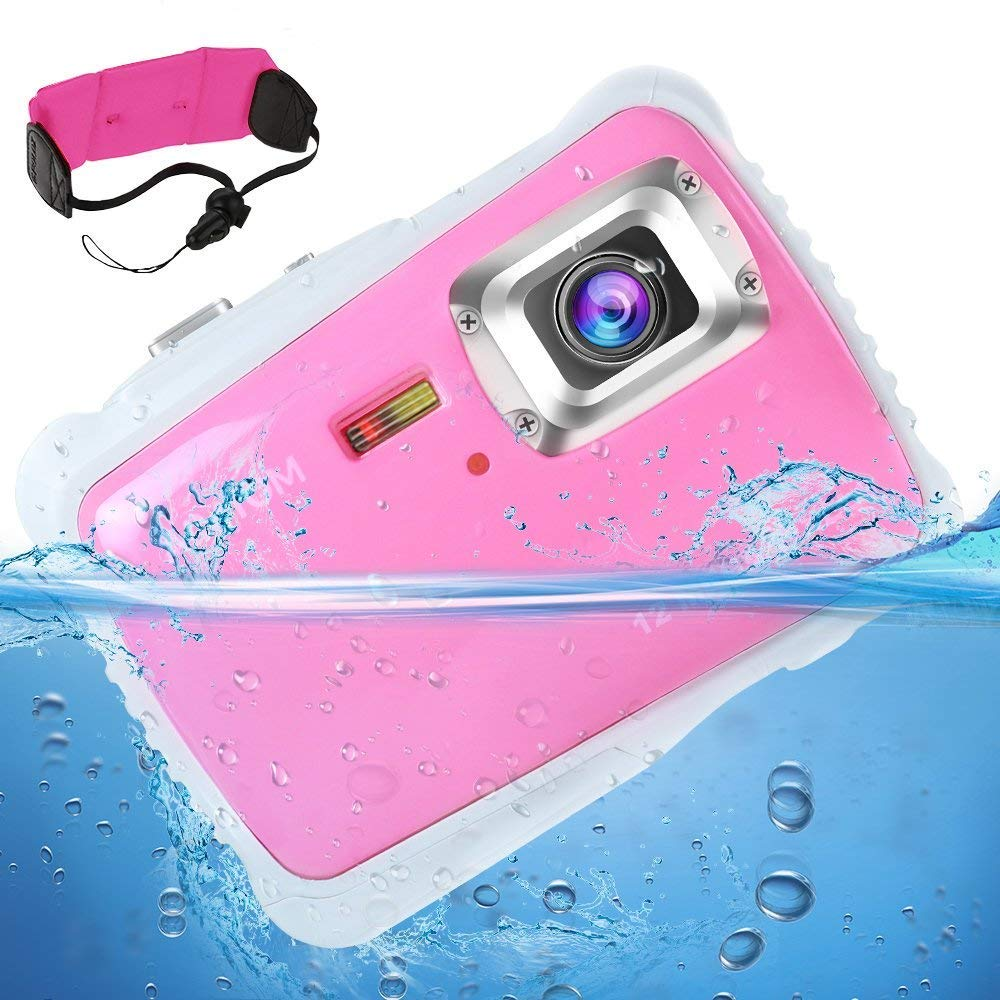 """[Updated 2019 Model] AIMTOM 12MP Pink Kids Underwater Digital Waterproof Camera, Boys Girls Action Camcorder, 2"""" LCD Screen Children Birthday Learn Sports Cam Floating Wrist Strap Included KC-98P"""