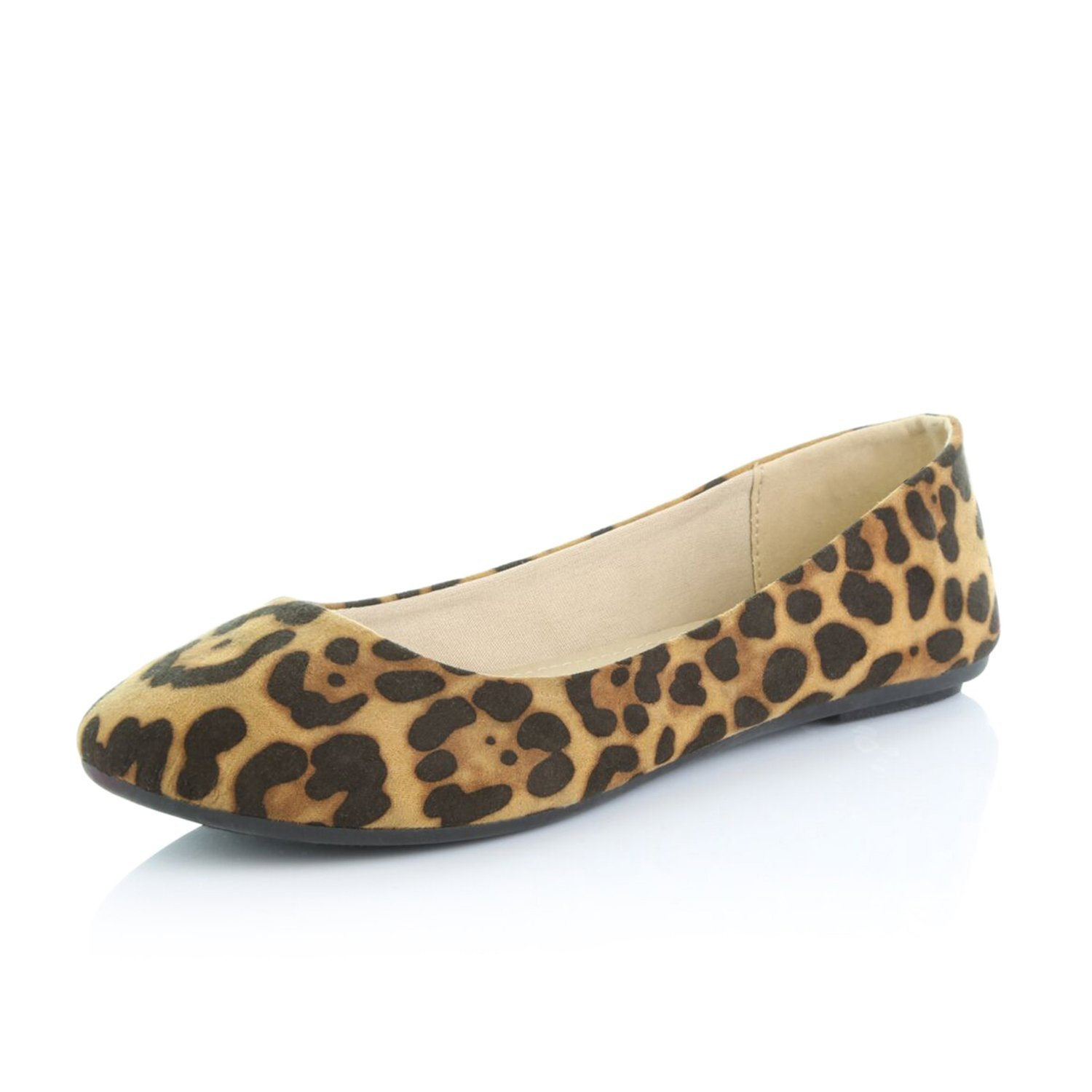 DailyShoes Women's Comfortable Soft Round Flat Slip-On Padded Loafer Casual Shoes, Leopard Suede, 12 B(M) US