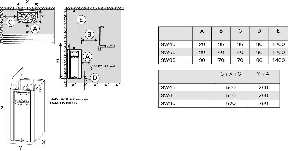 entweder Einphasig oder 3-Phasig; Edelstahl Harvia The Wall SW60 6kW Elektrische Saunaofen mit integrierte Steuerung; Multispannung
