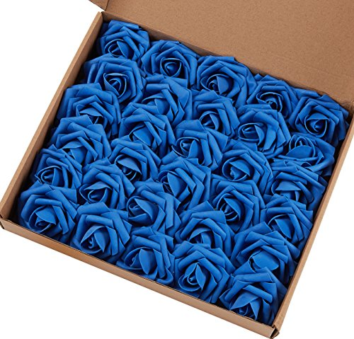 Marry Acting Artificial Flower Rose, 30pcs Real Touch Artificial Roses for DIY Bouquets Wedding Party Baby Shower Home Decor (Royal Blue)
