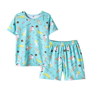 985af1182ec2 MyFav Girls Cute Banana Summer Pajama 2 Pieces Casual Sleepwear 6-14 Years  Child