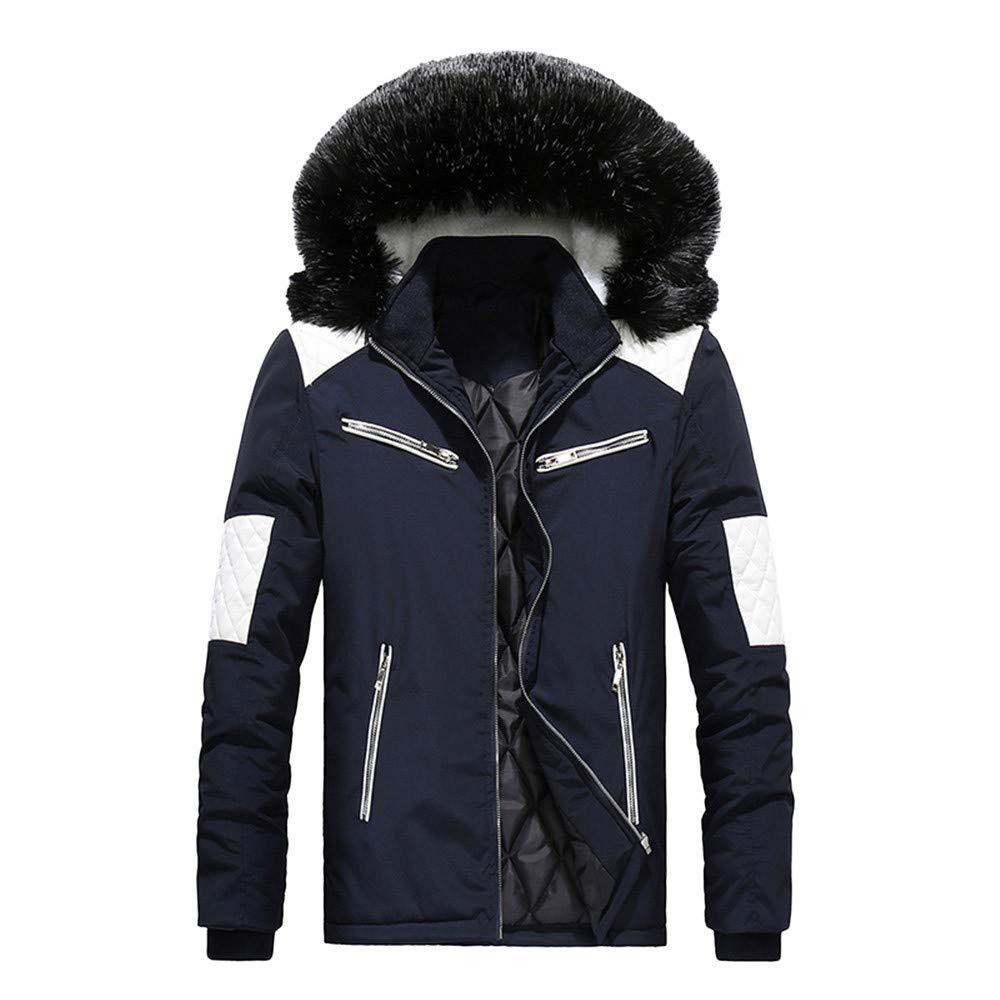 Men Coat,Men Boys Casual Warm Stand Collar Slim Winter Zip Coat Outwear Jacket Top Blouse(L,Blue)