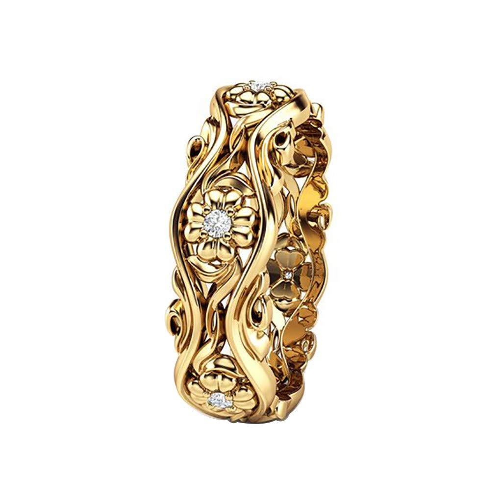 Booboda JJZ403 Women's Creative Sunflower Ring, Gold Plated Ring, Diamond Ring, Eternal Ring, How to Choose(Gold7#)